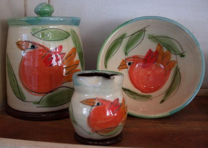domestic slipware, keving warren, terracotta, mugs, jugs, bowls, jane adams gallery