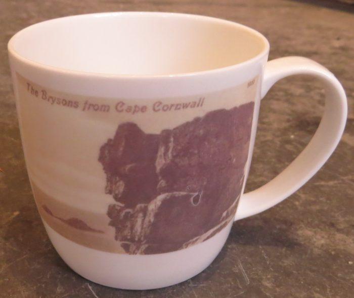 bone china mug, old postcard images, ceramic transfer, Brisons