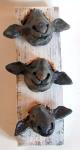 3 sheeps heads woodblock ceramics ceramic handmade studio pottery cornwall stoneware