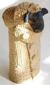 bit taller micro woolly jumper ceramic sheep brown handmade stoneware studio potter