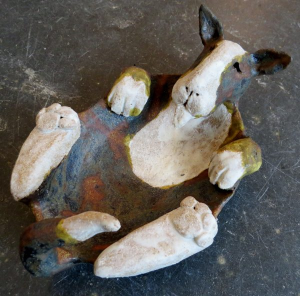 english bull terrier, dish, brindle and white, studio ceramics, handmade stoneware, cclay, potter jane adams ceramics