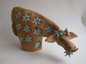 ceramic cow, jane adams ceramics. handmade stoneware pottery cow