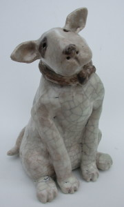 ceramic bull terrier, english bull terrier pottery, jane adams ceramics