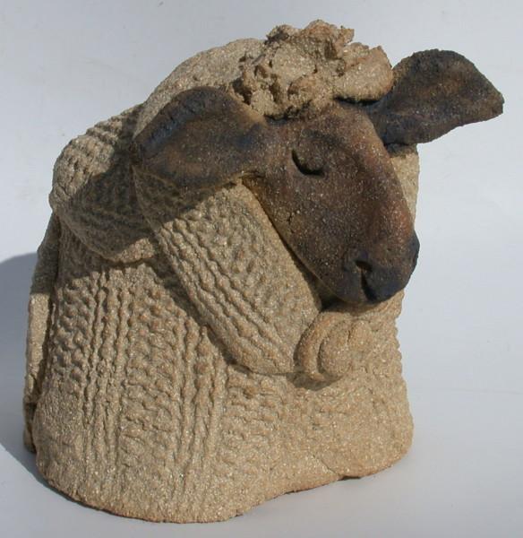 mini woolly jumper brown, black face sheep, knitted, clay, jane adams ceramics, handmade cornwall, scarf,