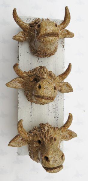ceramic cow, pottery highland ccow, jane adams ceramics, cow wall plaque