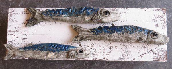 ceramic fish, mackerel, wall hanging, woodblock, jane adams creramics