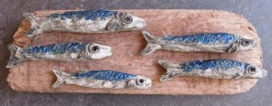 ceramic fish, driftwood, jane adams ceramics