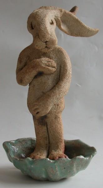 ceramic hare, bottichelli, hand made, stoneware, jane adams ceramics