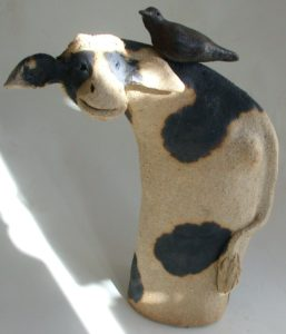 ceramic cow, brown cow, handmade pottery, jane adams ceramics