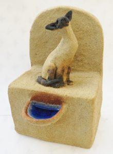 siamese cat, well, stoneware, studio ceramics, cats, jan eadams ceramics