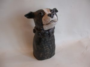 staffordshire bull terrier, ceramic dog, handmade stoneware, staffie, jane adams ceramics