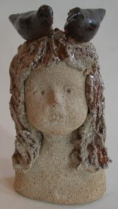 child, ceramic child, dreamer, birds, jane adams ceramics, ceramic bust, face