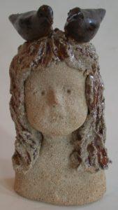 child, ceramic child, dreamer, birds, jane adams ceramics, ceramic bust, face