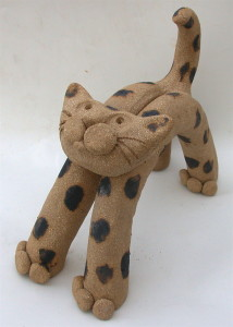 GIANT BROWN TUBE CAT, HANDMADE CERAMICS, JANE ADAMS, STUDIO POTTERY