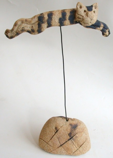 flying cat, handmade, ceramics, jane adams ceramics, ceramic cat, gift