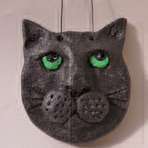 ceramic cat wallhanging, jane adams ceramics, handmade