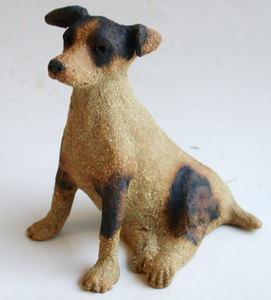 ceramic dog, jack russell, terrier, hand made, stoneware, jane adams cermaics, cornwall