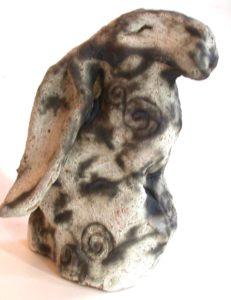 ceramic hare, hand made hare pottery hare, mystical hare, jane adams ceramics