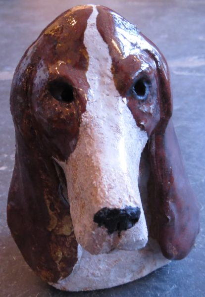 Basset hound, dog ceramic, hand made, stoneware, jane adams ceramics