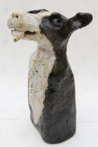 ceramic dog, collie dog, sheep dog, hand made ceramics, jane adams ceramics cornwall
