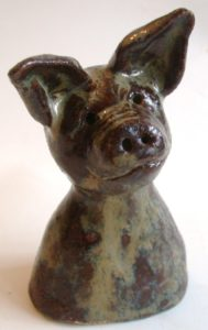 ceramic pig, jane adams ceramics, handmade pottery