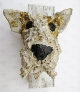 ceramic fox terrier, wall plaque, ceramic dog, wall hanigng, handmade ceramics, jane adams ceramics, cornwall