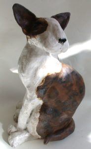 ceramic english bull terrier, ceramic. ceramic dog, brindle and white, jane adams ceramics, cornwall