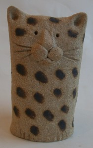 ceramic cat, hand builit, cat ornament, pottery cat, jane adams ceramics