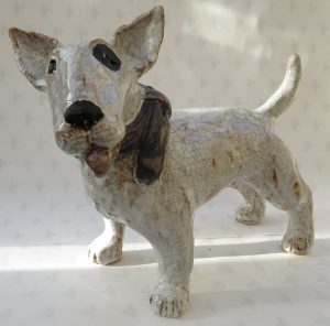 english bull terrier, ceramic dog, ceramics, handmade, jane adams ceramics