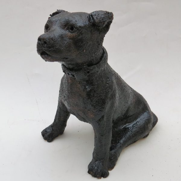 tiny sitting staffie, ceramic staffordshire bull terrier, handmade, black, jane adams ceramics