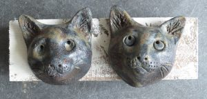 cat heads, wall plaque, cat ornament, stoneware, studio pottery, jane adams ceramics