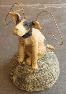 ceramic dog, angels, wings, jane adams ceramics