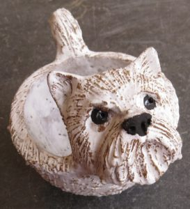 westie dog, ceramic westie, ceramic bowl, jane adams ceramics