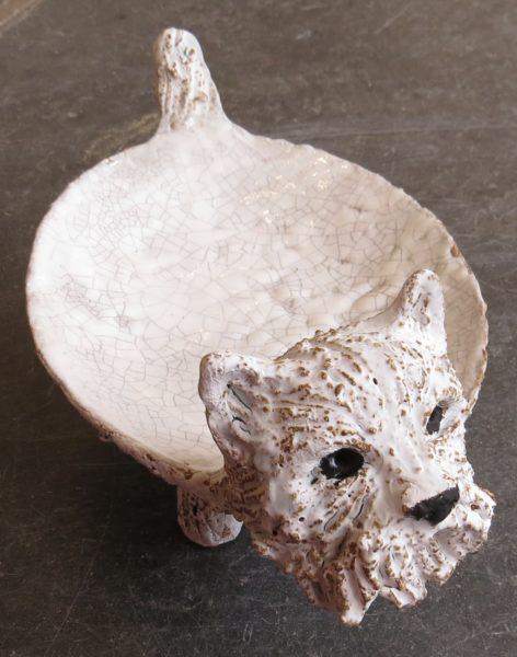 westie dog dish, ceramic westie, jane adams ceramics