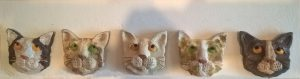 ceramic cats, wall hanging, jane adams ceramics