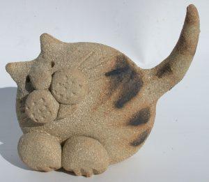ceramic cat, pottery cat, cast ornament, jane adams ceramics, handmade, studio pottery
