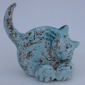 CERAMIC CATS, JANE ADAMS CERAMICS BLUE