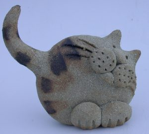 CERAMIC CAT, oxide, handbuilt stoneware, jane adams ceramics