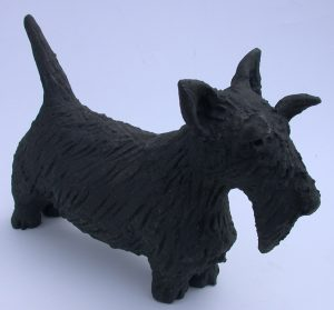 ceramic dog, ceramic scottie dog, jane adams ceramics, handmade ceramic dog, cornwall