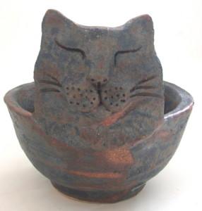 cat bowl, bowl, jane adams ceramics, brown glaze, handmade, stoneware