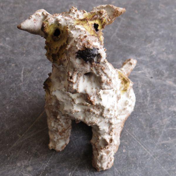 ceramic dog, fox terrier, jane adams ceramics