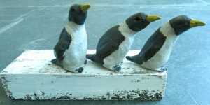 pottery penguins, penguins, ceramic penguins, woodblock, handmade stoneware, studio pottery, jane adams ceramics