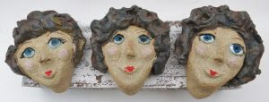 women, ceramic people, graces, wall plaque