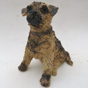 Border terrier, pottery dog, dog ornament, terrier, stoneware, handmade stoneware