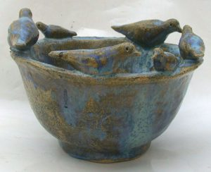 bird bowl, handmade, glazed