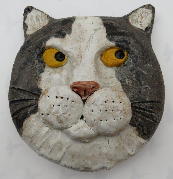 cats wall plaque, black and white cats, pottery cats, pot cats, handmade studio pottery, jane adams ceramics