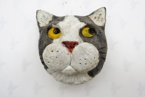 ceramic cat. cat wall plaque, black and white cat face, studio ceramics, jane adams ceramics,