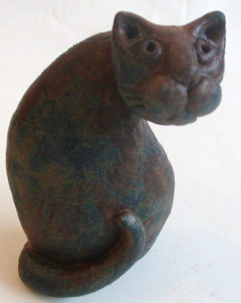 ceramic cat, pottery, cat, handmade, stoneware, brown glaze