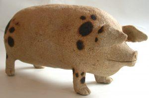 spotty pig, ceramic pig gloucester old spot, stoneware, jane adams ceramics