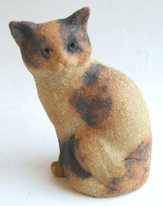 tortie cat, cat ornament, handmade ceramic cat, handbuilt stoneware, jane adams ceramics